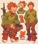 1boy angry empty_eyes frown ggneedshelp gun holding holding_gun orange_hair pico's_school pico_(pico's_school) solo squatting standing teeth white_eyes