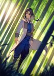 1girl androgynous bamboo bamboo_forest black_hair blue_kimono blue_pants blurry blurry_foreground brown_eyes closed_mouth coat collarbone dutch_angle eyepatch floating_hair forest frown full_body gintama highres ibaraki_shun japanese_clothes kimono long_hair long_sleeves nature open_clothes open_coat pants ponytail shiny shiny_hair solo standing white_coat yagyuu_kyuubei