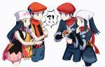 !? >:( 2boys 2girls akari_(pokemon) backpack bag beanie blue_eyes blue_pants bracelet dawn_(pokemon) grey_eyes hair_ornament hat hazel0217 head_scarf jacket jewelry lucas_(pokemon) multiple_boys multiple_girls pants pantyhose pink_scarf pink_skirt poke_ball poke_ball_(legends) pokemon pokemon_(game) pokemon_dppt pokemon_legends:_arceus red_headwear red_scarf rei_(pokemon) scarf skirt undershirt v-shaped_eyebrows