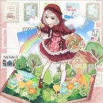 1girl :t basket blush bow_legwear capelet clouds cosplay dog flower flower_basket frilled_skirt frills grass grey_hair highres holding holding_basket holding_flower hood hoodie house idolmaster idolmaster_shiny_colors layered_skirt little_red_riding_hood little_red_riding_hood_(grimm) little_red_riding_hood_(grimm)_(cosplay) looking_at_object mary_janes mokutooo pantyhose patterned_clothing polka_dot polka_dot_background pop-up_book postage_stamp rabbit rainbow red_capelet red_hoodie red_skirt serizawa_asahi shoes short_hair skirt solo star_(symbol) tree white_legwear
