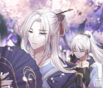 1boy 1girl armor bangs blonde_hair blue_eyes blue_hair blunt_bangs blurry blurry_background breastplate brooch cherry_blossoms choker closed_eyes closed_mouth collarbone depth_of_field earrings eyebrows_visible_through_hair genshin_impact gloves hair_ornament hair_ribbon half-closed_eyes hand_fan high_ponytail holding japanese_clothes jewelry kamisato_ayaka kamisato_ayato light_smile long_hair looking_at_viewer mole mole_under_eye parted_bangs parted_hair petals ponytail ribbon sapphrixrain sidelocks silver_hair smile tassel tassel_earrings upper_body