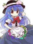 1girl apron back_bow bangs biyon black_headwear blue_hair blue_skirt bow bowtie closed_mouth commentary_request food fruit hand_on_hip hand_up hat hat_ornament hinanawi_tenshi long_hair peach red_eyes red_neckwear shirt short_sleeves simple_background skirt smile solo touhou twitter_username upper_body white_background white_shirt