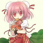 1girl bandaged_arm bandages bangs biyon bun_cover chain cuffs double_bun eating food food_on_face green_skirt hand_up holding holding_food ibaraki_kasen looking_at_viewer medium_hair open_mouth pink_eyes pink_hair red_ribbon ribbon shackles shirt short_sleeves simple_background skirt solo tabard touhou twitter_username upper_body white_shirt yellow_background