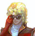 1boy blonde_hair blue_eyes char_aznable gloves gundam kim_yura_(goddess_mechanic) male_focus portrait quattro_vageena red_gloves scar scar_on_face solo sunglasses turtleneck zeta_gundam