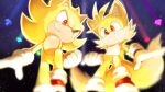 2boys animal_nose chaos_emerald clenched_teeth furry furry_male gloves grin male_focus misuta710 multiple_boys multiple_tails red_eyes shoes smile sneakers sonic_(series) sonic_the_hedgehog super_sonic tail tails_(sonic) teeth transformation two_tails white_gloves