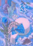 blue_theme bottle candle clam flower food fruit glass grapes highres jar leaf mongmongmong no_humans original pearl_(gemstone) pink_flower sparkle