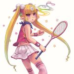 ball breasts child cigarette gnocchi holding miniskirt original pleated_skirt pointy_ears racket simple_background skirt small_breasts solo star_(symbol) tennis tennis_ball tennis_racket thigh-highs twintails violet_eyes white_background wristband zettai_ryouiki