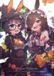 2girls absurdres artist_name bangs blue_eyes blurry blurry_foreground blush border bow braid candy center_frills character_name commentary_request english_text fangs food frilled_hairband frills glasses gloves hair_over_one_eye hairband happy_halloween hat highres kotori_inaka large_bow long_sleeves looking_at_viewer multiple_girls open_mouth outside_border puffy_short_sleeves puffy_sleeves purple_gloves purple_skirt rice_shower_(umamusume) robe shirt short_sleeves side_braid skirt teeth umamusume upper_teeth violet_eyes white_shirt witch_hat zenno_rob_roy_(umamusume)