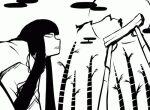 2girls animated animated_gif bamboo bangs bow broken_ground commentary_request egasumi fighting fujiwara_no_mokou hair_bow hime_cut houraisan_kaguya japanese_clothes kicking long_hair long_skirt long_sleeves looking_at_another looking_down looking_up lowres mask monochrome moon multiple_girls nicetack ninja_slayer pants parody punching rock sidelocks skirt suspenders torii touhou