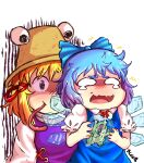 2girls animal_ears artist_name bangs black_eyes blonde_hair blue_bow blue_dress blue_hair blush bow brown_headwear cirno closed_mouth dress eyebrows_visible_through_hair frog hair_between_eyes hair_ornament hands_up hat highres ice ice_wings long_sleeves looking_at_another moriya_suwako multiple_girls open_mouth puffy_short_sleeves puffy_sleeves purple_dress scared shaded_face shirt short_hair short_sleeves sleep_(isliping) smile tongue tongue_out touhou white_eyes white_shirt wide_sleeves wings