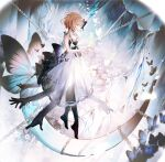 1girl bai_qi-qsr blonde_hair bug butterfly cave chain copyright_request crystal dress floating full_body highres looking_down moon rock see-through_skirt skirt solo wedding_dress