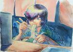 1girl absurdres black_eyes chopsticks eating food green_shirt hair_over_one_eye highres indoors luxmegist nazo_no_kanojo_x noodles plaid plaid_shirt ramen shirt solo urabe_mikoto