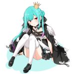 1girl absurdres aqua_hair black_dress black_footwear black_jacket chain colored_shadow commentary_request crown double_bun dress epaulettes felutiahime frilled_dress frilled_legwear frills full_body garter_straps gradient_hair highres hololive jacket jacket_on_shoulders knees_up long_hair looking_at_viewer mini_crown multicolored_hair pink_hair shadow shoes sitting solo thigh-highs tilted_headwear uruha_rushia very_long_hair virtual_youtuber white_background white_legwear