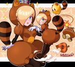 1girl absurdres artist_name ass blue_eyes goomba hair_over_one_eye highres leaning_forward looking_at_viewer luma_(mario) parted_lips raccoon_tail rosalina sarukaiwolf super_mario_3d_world super_mario_bros. tail tail_whip tanuki_suit