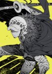 1boy facial_hair fur_coat goatee hat highres holding holding_sword holding_weapon looking_at_viewer male_focus monochrome nno_(nocturnal_blue) one_eye_covered one_piece solo sword tattoo trafalgar_law weapon yellow_background