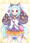 1girl :d animal_hands aqua_hair bag bandaged_leg bandages bangs brown_eyes claw_pose claws commentary_request frilled_skirt frills fur_trim ghost gloves hair_ribbon handbag highres kuze_matsuri long_hair long_sleeves looking_at_viewer miyako_(princess_connect!) open_mouth paw_gloves pleated_skirt princess_connect! ribbon sidelocks simple_background skirt smile solo two_side_up
