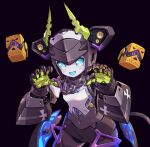1girl black_background chain claw_pose dia_(world_flipper) fang horns humanoid_robot leaning_forward mechanical_horns metal_skin navel no_humans open_mouth science_fiction skin_fang smile solo speaker taedu world_flipper