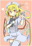 1girl :q alternate_costume bangs blonde_hair closed_mouth crystal dated dress eyebrows_visible_through_hair flandre_scarlet grey_dress grey_headwear grey_legwear hat holding holding_syringe looking_at_viewer matsu_kitsune nurse nurse_cap one_side_up orange_background red_cross red_eyes short_hair simple_background smile solo syringe thigh-highs tongue tongue_out touhou wings wrist_cuffs