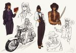 1girl alternate_costume animal bangs bespectacled black_hair bow bowtie cosplay dreaming driving earrings english_commentary english_text formal full_body glasses ground_vehicle hand_in_pocket hat highres holding hoop_earrings indiana_jones indiana_jones_(cosplay) indiana_jones_(series) jacket jewelry long_hair long_sleeves machete motor_vehicle motorcycle multiple_views muppet_(toboldlymuppet) necktie nico_robin one_piece pant_suit pants reading scratches sketch sleeping snake standing suit tan thought_bubble torn_clothes upper_body vest