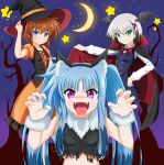 3girls :p animal_ears aqua_eyes bat_wings black_cape black_hair black_headwear black_shirt black_wings blue_eyes blue_hair blue_vest blush bow bowtie brown_hair cape cape_lift cat_ears claw_pose commentary_request crescent_moon dress dress_shirt eyebrows_visible_through_hair facial_mark fake_animal_ears fangs fingernails frilled_dress frills fur_collar fur_cuffs hair_ornament halloween halloween_costume hand_on_hip hat head_wings highres lifted_by_self long_hair long_sleeves looking_at_viewer lyrical_nanoha mahou_shoujo_lyrical_nanoha mahou_shoujo_lyrical_nanoha_a's mahou_shoujo_lyrical_nanoha_a's_portable:_the_battle_of_aces material-d material-l material-s medium_dress moon multicolored_hair multiple_girls night night_sky open_mouth orange_dress oshimaru026 puffy_short_sleeves puffy_sleeves red_cape red_neckwear sharp_fingernails shirt short_hair short_sleeves sidelocks silver_hair sky sleeveless sleeveless_shirt smile standing star_(sky) star_(symbol) starry_sky tongue tongue_out torn_clothes torn_shirt twintails two-sided_cape two-sided_fabric two-tone_hair v-shaped_eyebrows vest violet_eyes whisker_markings white_shirt wings witch_hat x_hair_ornament