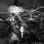 1girl arknights bare_shoulders black_gloves black_headwear breasts cloak dark_background dress from_side gladiia_(arknights) gloves grey_eyes grey_hair hat long_hair looking_at_viewer midoriii717 pointy_ears shark_girl silver_hair solo wind