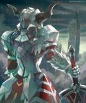1girl armor armored_dress clarent_(fate) clock clock_tower fake_horns fate/apocrypha fate/grand_order fate_(series) from_behind gauntlets helmet horned_helmet horns kim_yura_(goddess_mechanic) mordred_(fate) mordred_(fate/apocrypha) rain shoulder_armor solo sword tower twitter_username weapon
