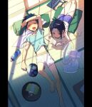 2boys aqua_shirt bangs barefoot black_hair blue_hair blue_shorts blush book bottle closed_eyes cup cushion electric_fan hand_fan holding holding_book holding_fan hot lying male_focus multiple_boys on_back on_stomach open_mouth original pillarboxed pillow_(nutsfool) reading shirt shorts sweat tank_top tassel tatami tray white_shorts white_tank_top