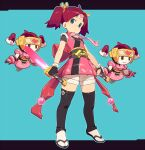 :o back_bow bow dual_wielding fingerless_gloves floating full_body gloves green_eyes headband heart highres holding jacket looking_at_viewer ninja om_(nk2007) pink_jacket pink_neckwear redhead robot saru_getchu sayaka_(saru_getchu) short_sleeves short_twintails shorts socks sword tabi thigh-highs twintails two-tone_background weapon