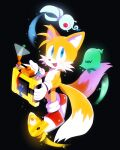 1boy animal_nose black_background blue_eyes creature fox_boy full_body furry furry_male gloves holding male_focus misuta710 multiple_tails shoes simple_background sonic_(series) sonic_colors standing tail tails_(sonic) two_tails white_gloves wisp_(sonic)