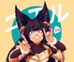 1girl absurdres animal_ears background_text bangs bell black_hair blush bodysuit collarbone double_fox_shadow_puppet erune eyebrows_visible_through_hair fangs fox_ears fox_shadow_puppet fur-trimmed_sleeves fur_trim granblue_fantasy grin hair_bell hair_ornament hair_ribbon hands_up highres kuroqueta long_hair looking_at_viewer ribbon sidelocks signature smile solo sweater translation_request two-tone_background upper_body violet_eyes yuel_(granblue_fantasy)