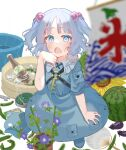 1girl blue_eyes blue_footwear blue_hair blue_headwear blush boots bottle commentary_request cucumber eggplant flower flower_pot food fruit hair_bobbles hair_ornament haru_(unfu3432) headwear_removed highres kagiyama_hina kawashiro_nitori key looking_at_viewer mosquito_coil open_mouth pocket poster_(object) sake_bottle short_hair solo standing string sunflower sweat sweatdrop touhou two_side_up water watermelon wrench