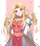 1girl :3 bangs belt bitikara blonde_hair blue_eyes blush bracelet cape circlet commentary_request dress earrings eyebrows_visible_through_hair fingernails forehead forehead_jewel gem gown jewelry lips long_hair looking_at_viewer necklace parted_bangs pearl_necklace petals pink_lips pointy_ears princess_zelda short_sleeves shoulder_pads sidelocks smile solo super_smash_bros. tabard the_legend_of_zelda the_legend_of_zelda:_a_link_between_worlds triforce white_cape white_dress