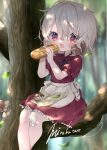 1girl animal_on_shoulder apron bandaid bandaid_on_knee bird blurry blurry_background blush bread child collared_dress commentary commission crossed_legs crumbs dress eyebrows_visible_through_hair fangs feet_out_of_frame flat_chest food food_on_face forest hair_between_eyes highres holding holding_food knees lace-trimmed_dress lace_trim looking_at_viewer maid_apron medium_hair messy_hair mirukutarou nature open_mouth original outdoors pink_hair red_dress red_eyes short_sleeves signature sitting sitting_on_branch skeb_commission sleeve_cuffs squirrel tree wrinkled_fabric