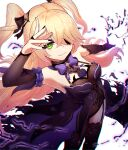 1girl arm_up black_eyepatch blonde_hair bodysuit bow bowtie eyepatch fischl_(genshin_impact) fishnet_bodysuit fishnets genshin_impact gloves green_eyes hair_bow highres looking_at_viewer outstretched_arm purple_bow reizouko simple_background single_glove single_thighhigh standing tagme thigh-highs two_side_up white_background