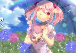 1girl ;) animal animal_on_shoulder bangs blue_umbrella blurry blurry_background blush collarbone collared_dress commission depth_of_field dress eyebrows_visible_through_hair flower food_print frilled_shirt_collar frills hair_between_eyes hair_bobbles hair_ornament holding holding_umbrella hydrangea kantai_collection kou_hiyoyo one_eye_closed pink_flower pink_hair print_dress puffy_short_sleeves puffy_sleeves purple_flower rabbit red_eyes sazanami_(kancolle) short_sleeves skeb_commission smile solo strawberry_print twintails umbrella water_drop white_dress