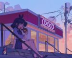1girl :o akiyoku antenna_hair apple_juice arm_support arrow_(symbol) backlighting bag bangs bare_legs black_bow black_footwear black_hair black_neckwear black_skirt blunt_bangs bow bowtie box building center_frills cityscape clouds cloudy_sky collared_shirt convenience_store doughnut drink dusk eating evening eyebrows_visible_through_hair fang food frilled_shirt frilled_shirt_collar frills from_side full_body glass_door gradient_sky halftone hand_up high-waist_skirt highres holding holding_food juice looking_at_viewer looking_to_the_side mary_janes miniskirt mole mole_under_eye no_socks open_mouth original outdoors pastry_box plastic_bag pleated_skirt power_lines puffy_short_sleeves puffy_sleeves railing scenery shirt shirt_tucked_in shoes shop short_hair short_sleeves sign sitting sitting_on_stairs skirt sky slit_pupils solo stairs thick_thighs thighs utility_pole white_shirt yellow_eyes