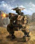clouds desert dust firing kim_yura_(goddess_mechanic) mountain no_humans original robot shiny sky tagme