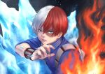 1boy absurdres aqua_eyes boku_no_hero_academia fire grey_eyes heterochromia highres ice jiimusume looking_at_viewer male_focus multicolored_hair parted_lips redhead short_hair solo upper_body white_hair