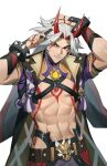 1boy abs arataki_itto arms_up bangs black_nails body_markings club_(weapon) comb english_commentary facial_mark fingernails genshin_impact holding holding_comb horns japanese_clothes lan_dinh_thi_dieu long_hair looking_at_viewer male_focus multicolored_hair nail_polish oni oni_horns open_mouth parted_bangs red_eyes redhead sharp_fingernails simple_background solo spikes spiky_hair thick_thighs thighs toned toned_male twitter_username vision_(genshin_impact) weapon white_background