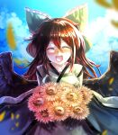 alternate_costume blush bow brown_hair closed_eyes flower hair_bow happy highres japanese_clothes kimono long_hair open_mouth reiuji_utsuho smile sunflower sunyup wings