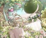 bush cake_stand calyrex chair closed_eyes closed_mouth commentary_request cup flower food highres holding holding_cup leaf mont_blanc_(food) outdoors pokemon pokemon_(creature) polteageist ringo_cha rose sinistea sitting sweets table tea_party teacup teapot tree u_u white_flower white_rose