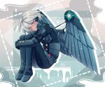 ahoge android bangs blush cheer_(cheerkitty14) closed_mouth danganronpa_(series) danganronpa_v3:_killing_harmony grey_background grey_hair half-closed_eyes headphones hugging_own_legs keebo long_sleeves looking_at_viewer outline power_armor shiny shiny_hair smile solo white_outline wings