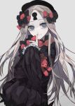 1girl abigail_williams_(fate) bangs black_dress black_headwear blonde_hair blue_eyes bow dress ebanoniwa facial_mark fate/grand_order fate_(series) finger_to_mouth forehead_mark grey_background hair_bow hand_up hat jpeg_artifacts long_hair long_sleeves looking_at_viewer parted_bangs shushing simple_background smile solo stuffed_animal stuffed_toy teddy_bear