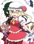 1girl ;d ascot bangs blonde_hair blush bow broken commentary_request crystal dual_persona eyebrows_visible_through_hair flandre_scarlet frilled_shirt_collar frills full_body hair_between_eyes hat hat_bow highres looking_at_viewer mob_cap one_eye_closed one_side_up open_mouth otoufu_(wddkq314band) petticoat pointy_ears puffy_short_sleeves puffy_sleeves red_bow red_eyes red_footwear red_skirt red_vest sharp_teeth short_hair short_sleeves simple_background skirt smile solo stuffed_animal stuffed_toy teddy_bear teeth touhou vest white_background white_headwear wings yellow_neckwear