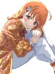 1girl absurdres bangs blush braid chinese_clothes cowlick hair_ornament head_rest highres icehotmilktea knees_up long_sleeves looking_at_viewer love_live! love_live!_sunshine!! orange_hair orange_shirt pants red_eyes shirt side_braid simmsy sitting smile solo takami_chika vine_print white_background white_pants