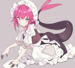 1girl bangs black_dress blade_(galaxist) blue_eyes blush breasts dragon_girl dragon_tail dress elizabeth_bathory_(fate) elizabeth_bathory_(fate/extra_ccc) fate/grand_order fate_(series) long_hair looking_at_viewer pink_hair pointy_ears puffy_short_sleeves puffy_sleeves short_sleeves small_breasts tail