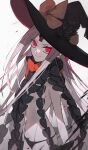 1girl abigail_williams_(fate) black_bow black_headwear black_panties bow ebanoniwa facial_mark fate/grand_order fate_(series) forehead_mark hat hat_bow highres keyhole looking_at_viewer orange_bow pale_skin panties red_eyes revealing_clothes simple_background smile solo standing underwear white_background witch_hat