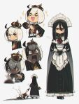 1boy 1girl :d @_@ absurdres ahoge ascot bangs black_eyes black_gloves brooch cape commentary crown dragging english_commentary expressionless gloves hair_between_eyes hand_on_own_chest highres jewelry leg_grab long_hair long_sleeves maid maid_headdress mole mole_under_eye multicolored_hair multiple_views open_mouth original porforever puffy_long_sleeves puffy_sleeves rectangular_mouth red_eyes red_neckwear simple_background smile sparkle sweat sweating_profusely thick_eyebrows trembling two-tone_hair u_u white_background white_cape white_hair yellow_neckwear