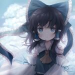 1girl alternate_color bangs bare_shoulders black_hair blue_bow blue_eyes blue_shirt blue_skirt blue_sky blush bow clouds cloudy_sky collar collared_shirt detached_sleeves eyebrows_visible_through_hair hair_between_eyes hair_ornament hair_tubes hakurei_reimu highres long_sleeves looking_at_viewer open_mouth player_2 shadow shirt short_hair skirt sky solo touhou upper_body user_dpzr3725 white_sleeves wide_sleeves