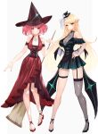 2girls absurdres alternate_costume bangs blonde_hair breasts chest_jewel earrings halloween hat highres jewelry large_breasts long_hair multiple_girls mythra_(xenoblade) pyra_(xenoblade) red_eyes redhead risumi_(taka-fallcherryblossom) short_hair swept_bangs very_long_hair xenoblade_chronicles_(series) xenoblade_chronicles_2 yellow_eyes
